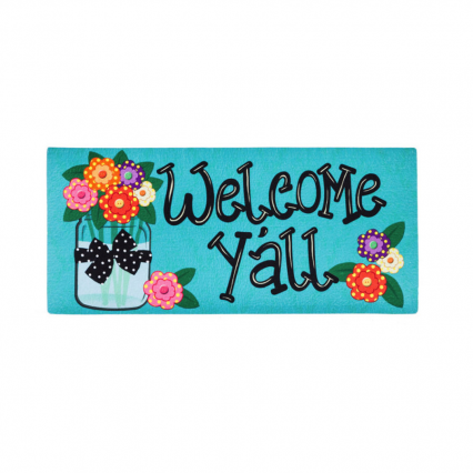 Evergreen 431272 Welcome Y'all with Polka Dot Flowers, 10 x 22 inches (Door Mat Frame Sold Separately)