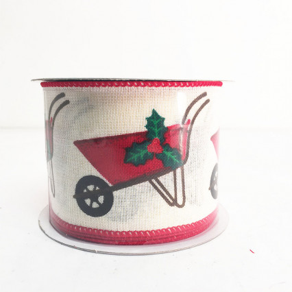 "2.5"" x 10Y Wheelbarrow Christmas Ribbon"