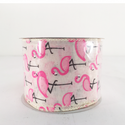Jascotina White Ribbon with Flamingos