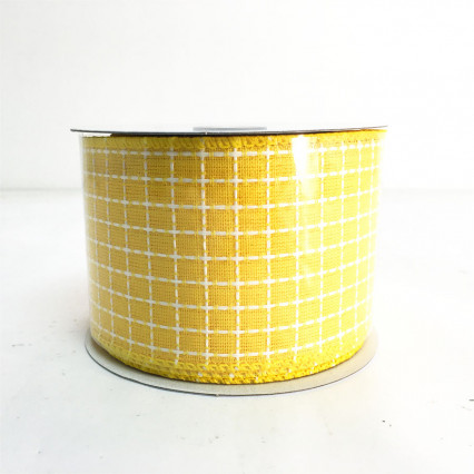 "2.5"" x 10Y Yellow and White Pattern Ribbon"