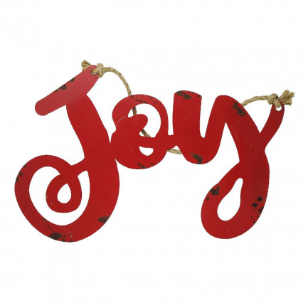 Joy Metal Stencil Christmas Hanging Sign