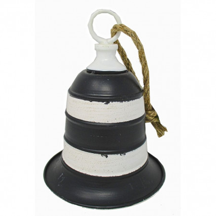 Metal Stripe Christmas Bell - black and white