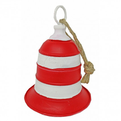Metal Stripe Christmas Bell - red and white