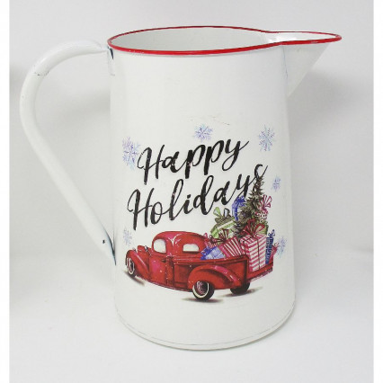 Red Vintage Truck Pitcher Happy Holidays