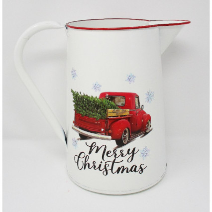 Red Vintage Truck Pitcher Merry Christmas