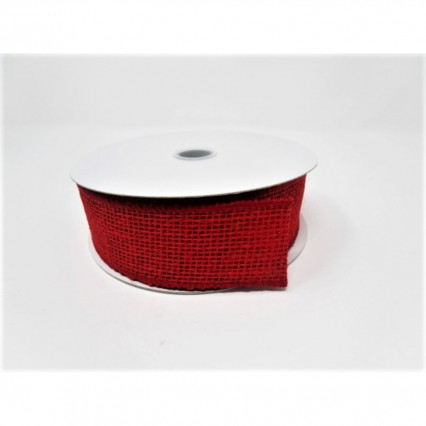 1 1/2 in x 10yd Red Burlap Wired Ribbon