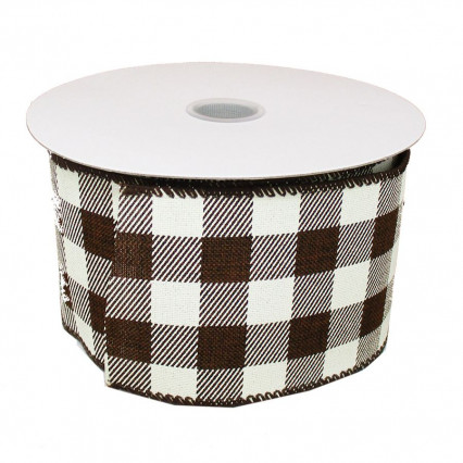 "Brown and White Buffalo Plaid Wire Ribbon, 2.5""x10yd"