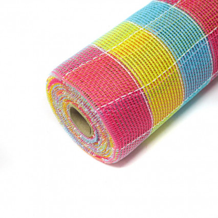 "10""x10Y Pink, Yellow, Teal Deco Mesh"
