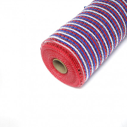 "10""x10y Red White and Blue Striped Deco Mesh"