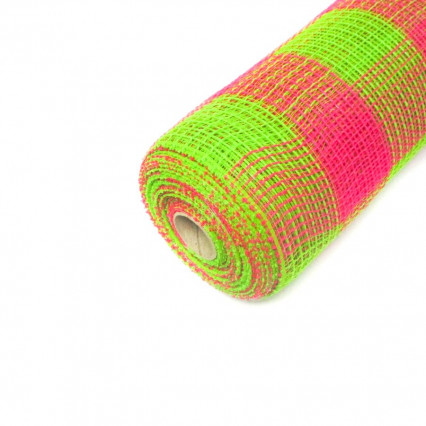 "10"" Green & Pink Deco Mesh"