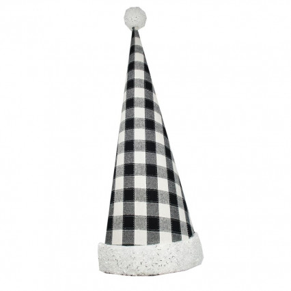 Christmas Hat Decor Black and White Buffalo Plaid
