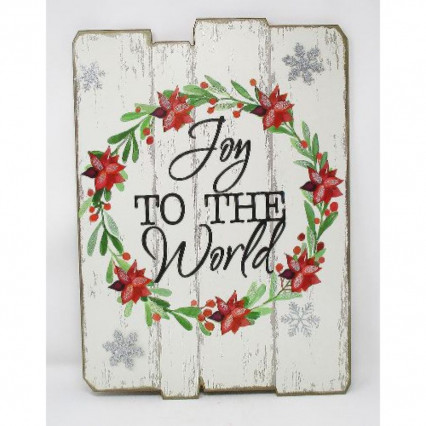 Joy to the World Christmas Wooden Slat Sign