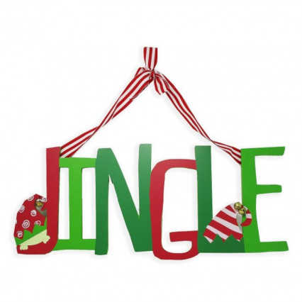 Jingle Elf Bells Christmas Hanging Sign