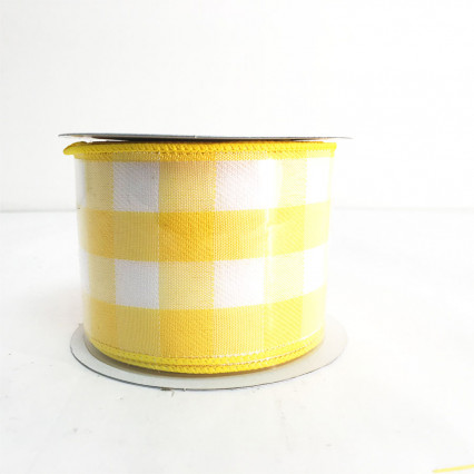 "2.5"" x 10Y Yellow and White Chex Ribbon"