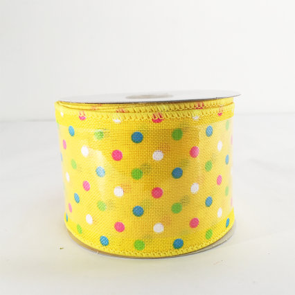 Jascotina Yellow Ribbon w/ Colorful Polkadots