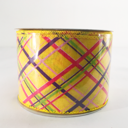 Jascotina 2.5 x 10yds Yellow with Decorative Lines Ribbon