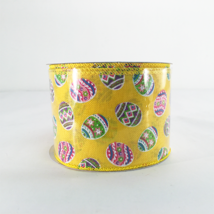 Jascotina 2.5 x 10 YD Yellow Ribbon with Decorative Eggs