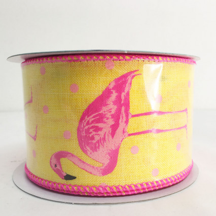 2.5 x 10Y Yellow Flamingo Ribbon