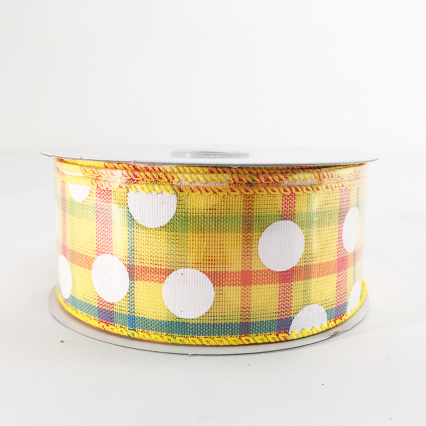 Jascotina Yellow & White Polkadot Pattern Ribbon