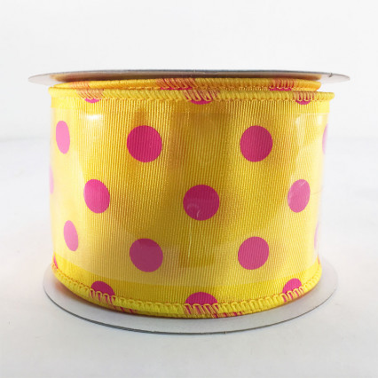 "Jascotina SP698-4-01 2.5"" x 10yd Yellow and Pink Polkadot Ribbon"