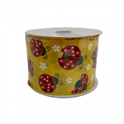 Yellow Flower Ladybug Ribbon