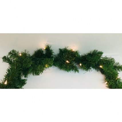 "Allstate YGC810-GR 9' x 10"" Pre-lit Windsor Green Pine Artificial Christmas Garland - Clear Lights"