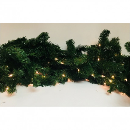 "Allstate YGW818-GR 9' x 18"" Pre-Lit Deluxe Green Windsor Pine Christmas Garland - Clear Lights"