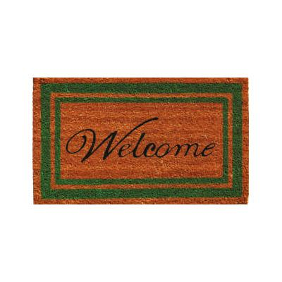 Green Border Welcome Doormat