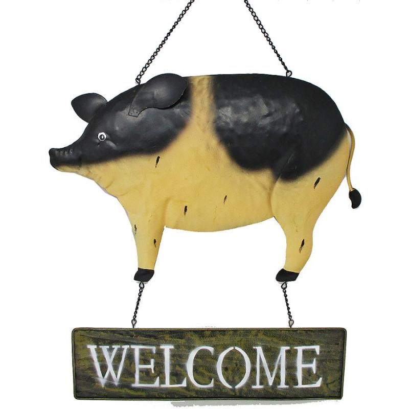 "14""x15"" Welcome Metal Pig Farmhouse Hanging Sign"