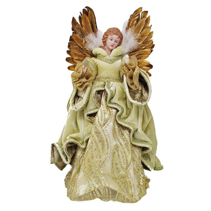 "17"" Christmas Angel with Gold Feather Wings"