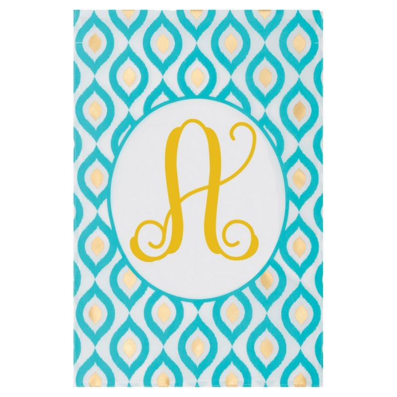 Turquoise Peacock Monogram Garden Flag - A | Outdoor