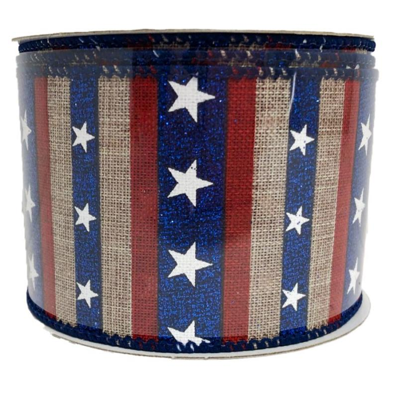 "2.5"" x 10 yd Linen Stripe with Stars Ribbon"