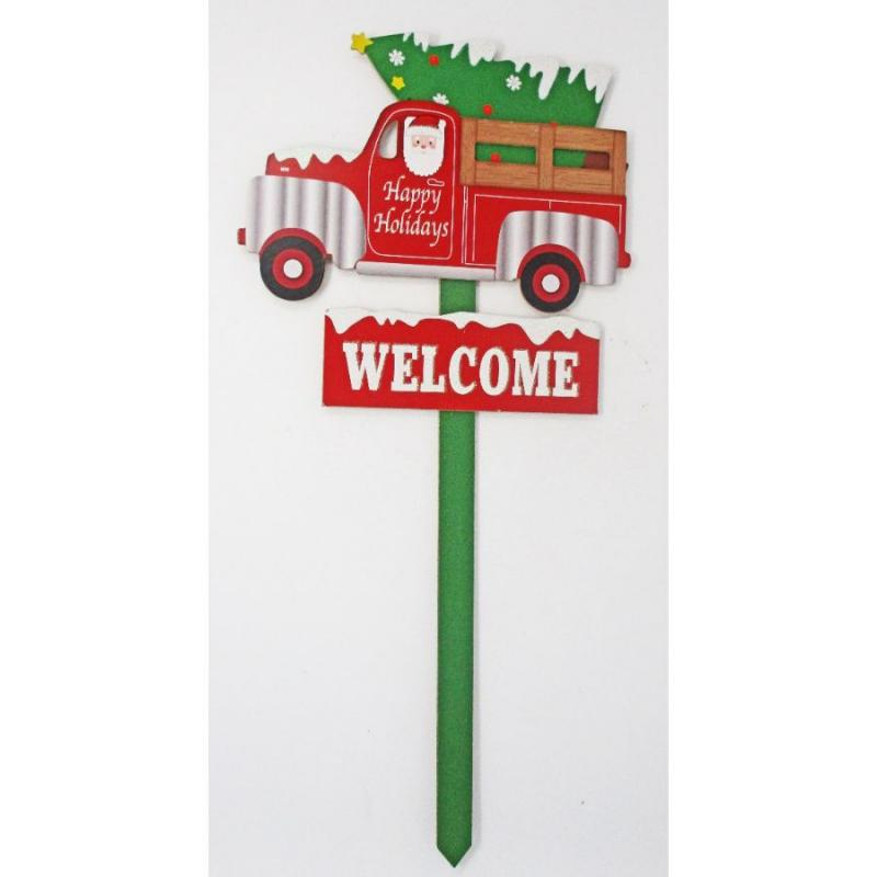Red Vintage Truck Christmas Wooden Stake Sign