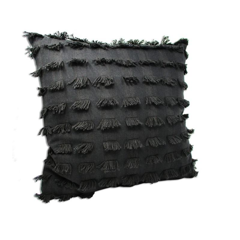 "20"" Black Fringe Accent Throw Pillow"
