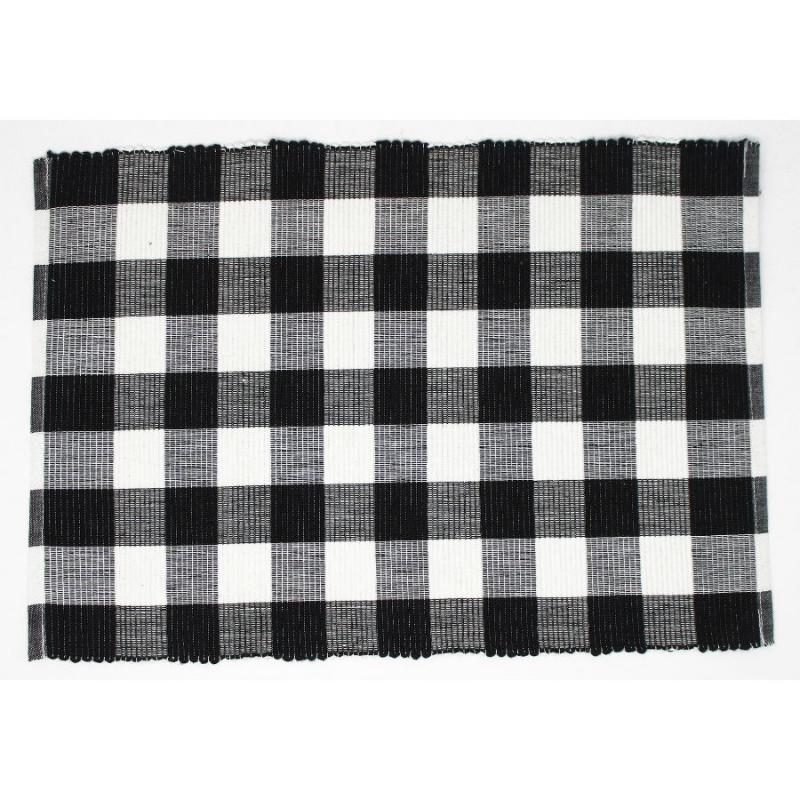 Woven Placemat - Black and White Buffalo Plaid