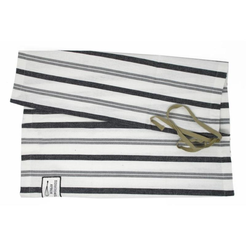 Dishtowel Apron - White and Black Kitchen Stripe