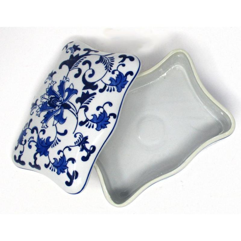 Blue and White Asian Design Covered Dish