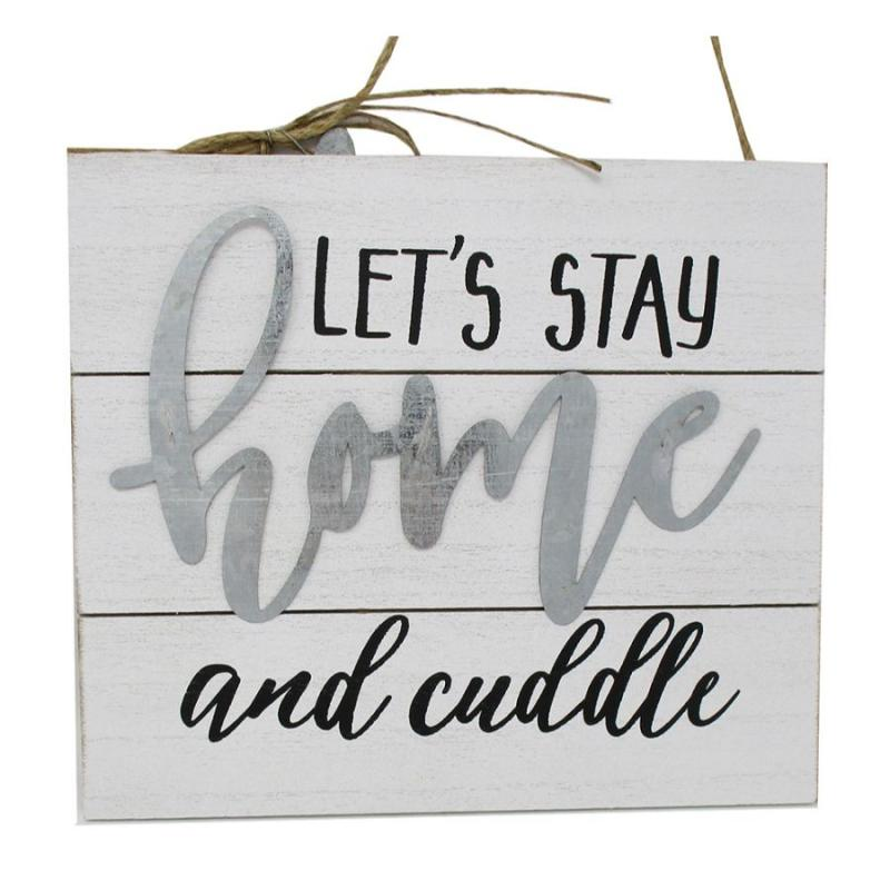 "9"" Let's Stay Home Wooden Hanging Sign"