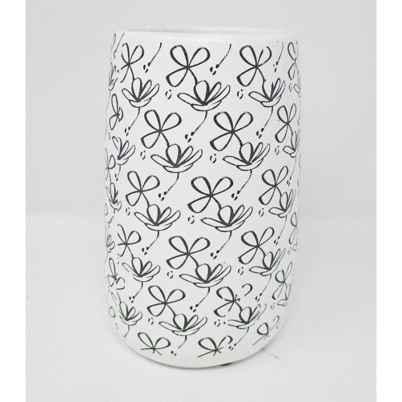 "7.5"" Black and White Flower Cement Vase"