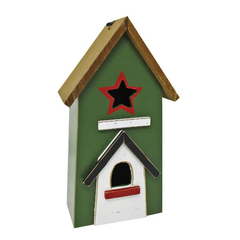 "11.5"" Wooden Country Barn Birdhouse"