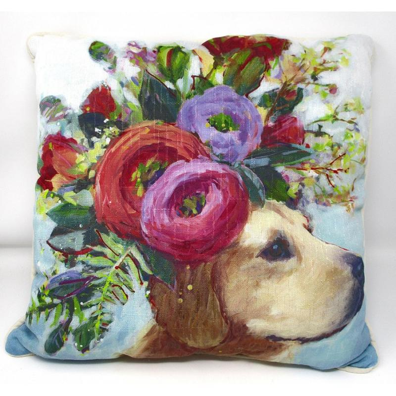 Pet Accent Pillow - Lab Dogs in Bloom