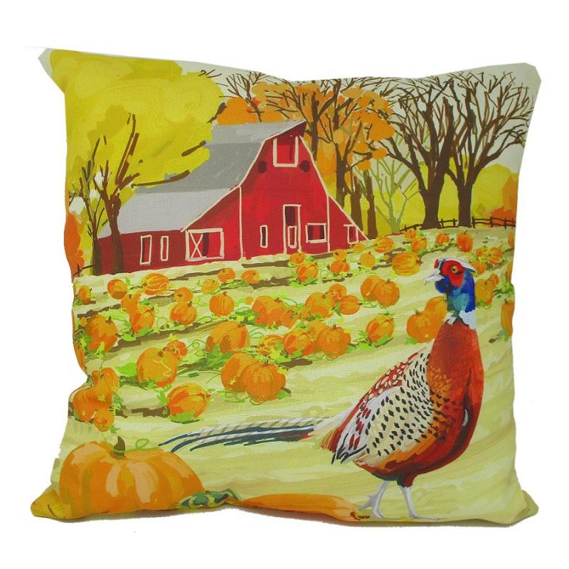 Barn Farm Scarecrow Reversible Indoor Outdoor Accent Pillow