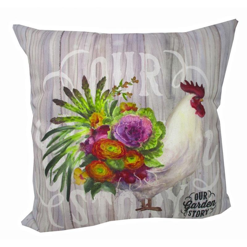 Our Garden Rooster 2-sided Accent Throw Pillow