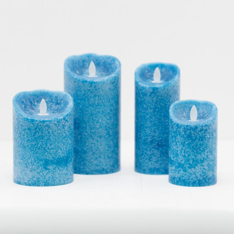 Wide Mottled Mirage LED Pillar Marina Blue – Large