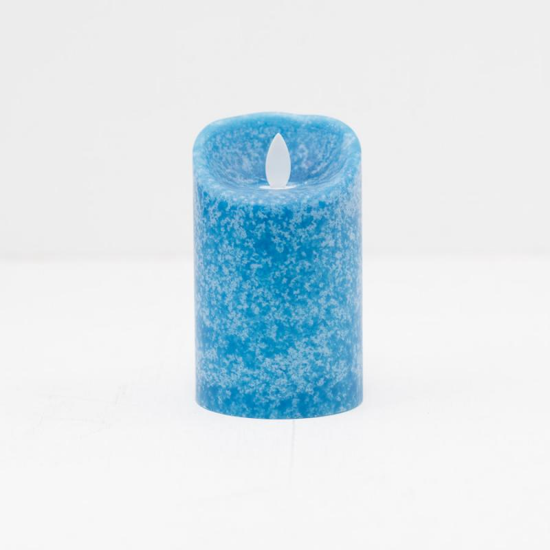 Mottled Mirage LED Pillar Marina Blue - Small