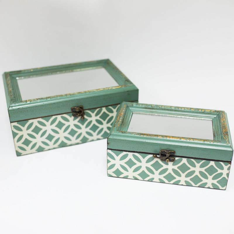Jade and White Mirrored Lid Box - Small