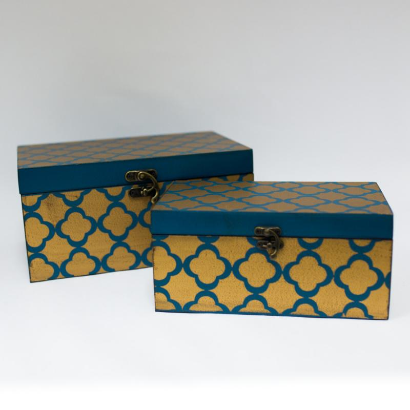 Gold and Teal Decorative Box - Small
