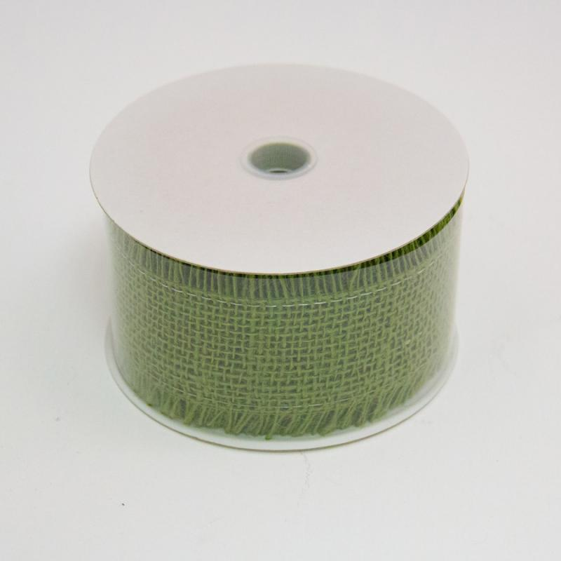 2 1/2 in. (#40) Moss Frayed Burlap Ribbon