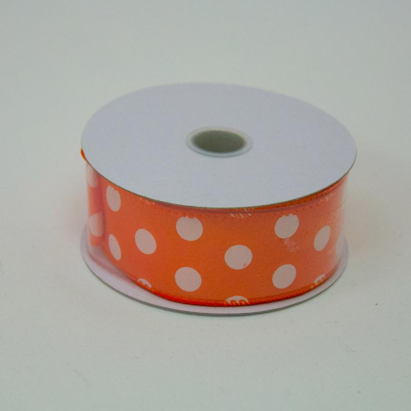 1 1/2 in. (#9) Orange & White Polka Dot Satin Ribbon