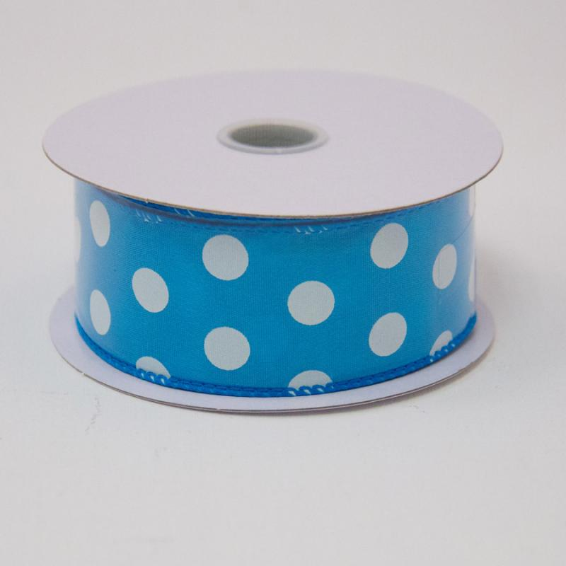 1 1/2 in. (#9) Turquoise & White Polka Dot Satin Ribbon